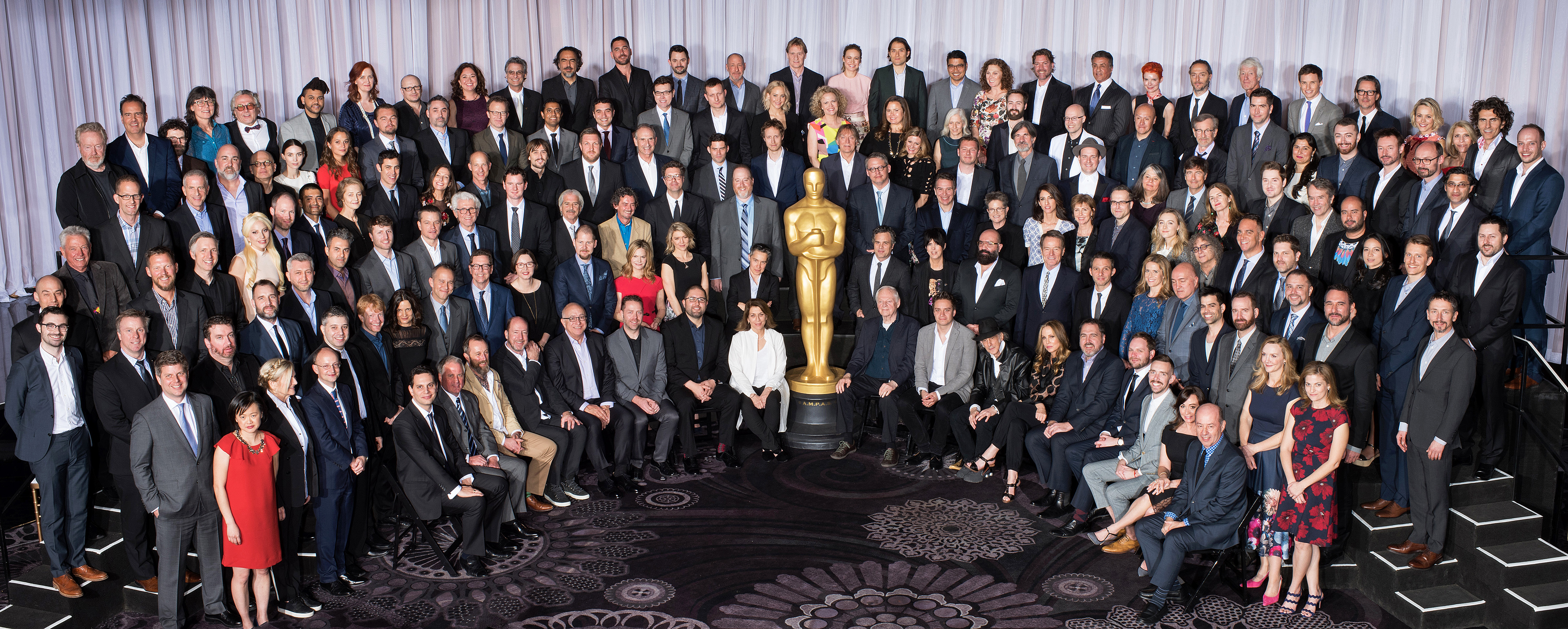 The white face(s) of Hollywood: Oscars class of 2016 including Jennifer Lawrence, DiCaprio and Stallone meet for nominees lunch ahead of Awards
